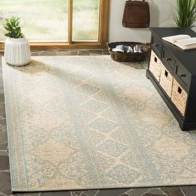 Dunnyvadden Aqua/Cream Area Rug Rug Size: Rectangle 4 x 6