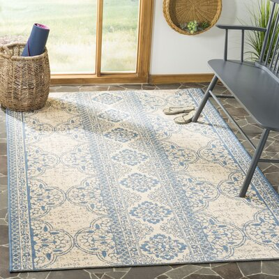 Dunnyvadden Blue/Cream Area Rug Rug Size: Rectangle 8 x 10