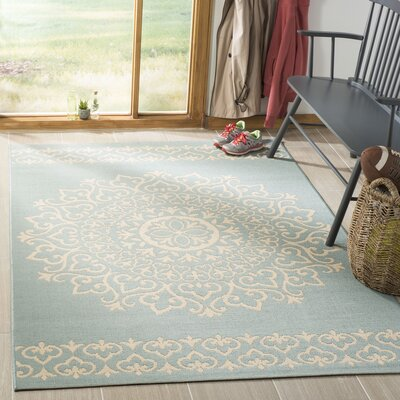 Dunnyvadden Cream/Aqua Area Rug Rug Size: Rectangle 8 x 10