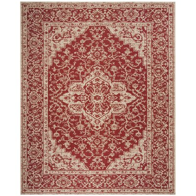 Loveday Red/Creme Area Rug Rug Size: Rectangle 8 x 10
