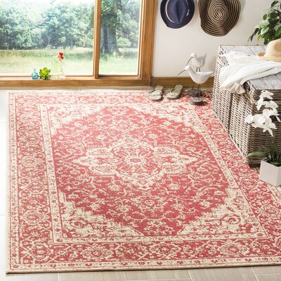 Loveday Red/Creme Area Rug Rug Size: Rectangle 51 x 76