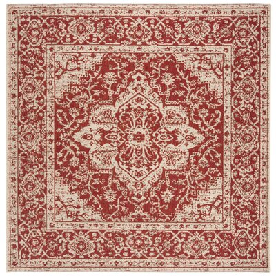 Loveday Red/Creme Area Rug Rug Size: Square 67