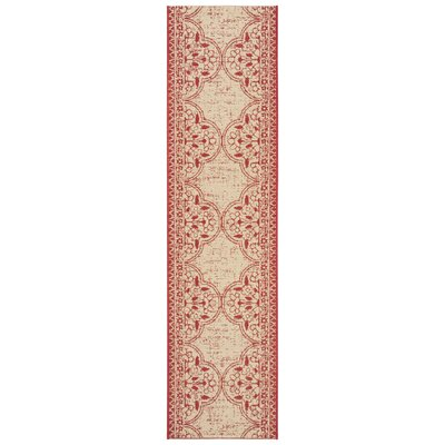 Loveday Red/Creme Area Rug Rug Size: Runner 2 x 8