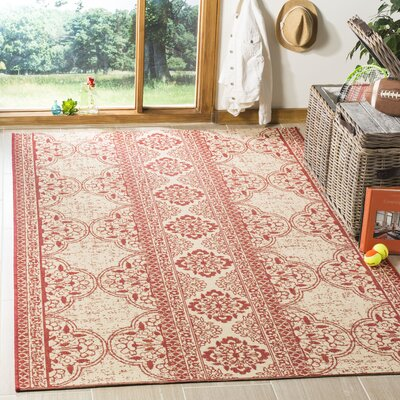 Loveday Red/Creme Area Rug Rug Size: Rectangle 9 x 12
