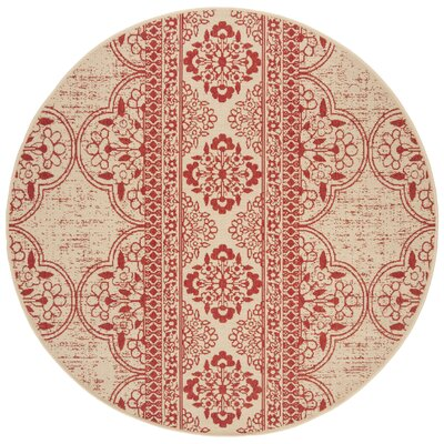 Loveday Red/Creme Area Rug Rug Size: Round 67