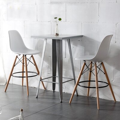 Paris Tower 27 inch Bar Stool Upholstery: White