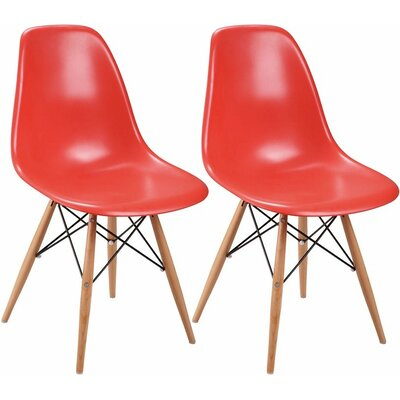 Paris Tower Solid Wood Dining Chair Finish: Red