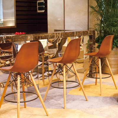 Paris Tower 27 inch Bar Stool Upholstery: Chocolate