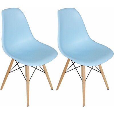 Paris Tower Solid Wood Dining Chair Finish: Blue