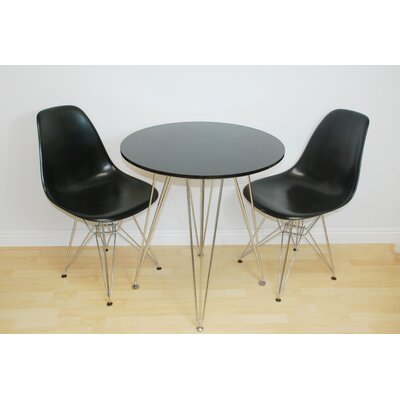 Paris Tower 3 Piece Dining Set Chair Finish: Black, Table Finish: Black