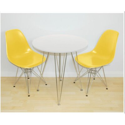 Paris Tower 3 Piece Dining Set Table Finish: White, Chair Finish: Yellow