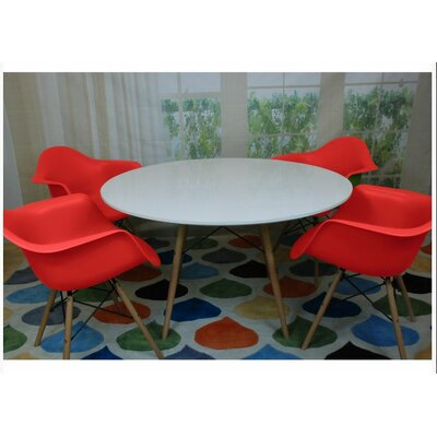 Paris Tower 5 Piece Dining Set Finish: Red