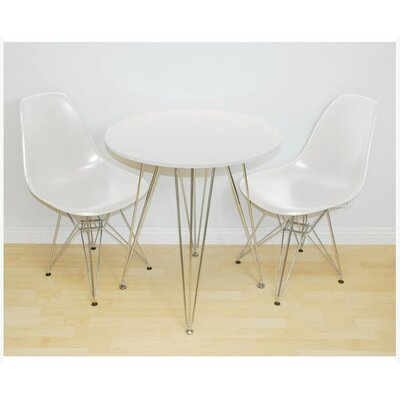 Paris Tower 3 Piece Dining Set Table Finish: White, Chair Finish: White