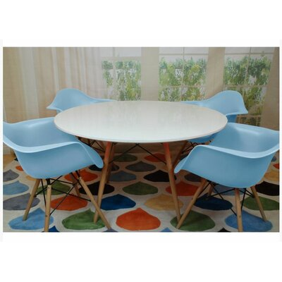 Paris Tower 5 Piece Dining Set Finish: Blue