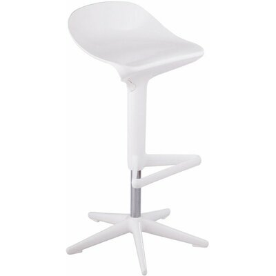 Starfish Adjustable Height Swivel Bar Stool Upholstery: White