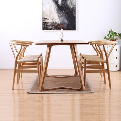 Modern V 5 Piece Dining Set Finish: Natural