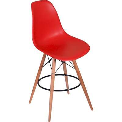 Paris Tower 27 Bar Stool Upholstery: Red
