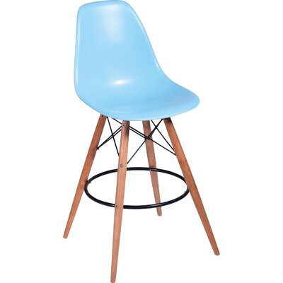 Paris Tower 27 Bar Stool Upholstery: Blue