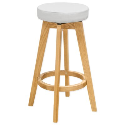 26 Swivel Bar Stool Upholstery: White
