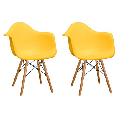 Paris Tower Solid Wood Dining Chair Finish: Yellow