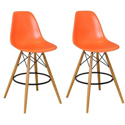 Paris Tower 27 inch Bar Stool Upholstery: Orange