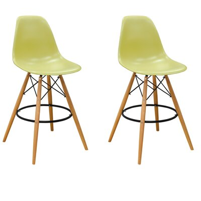 Paris Tower 27 Bar Stool Upholstery: Green