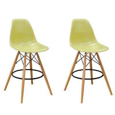 Paris Tower 27 Bar Stool Upholstery: Green