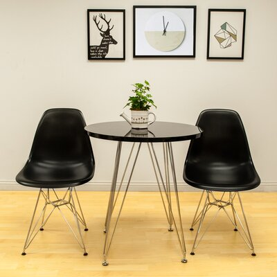 Confer 3 Piece Dining Set Table Finish: Black, Chair Finish: Black
