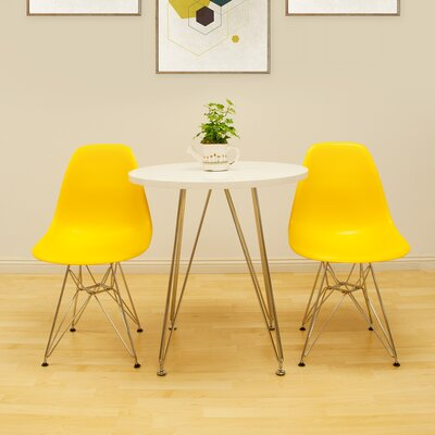 Confer 3 Piece Dining Set Table Finish: White, Chair Finish: Yellow
