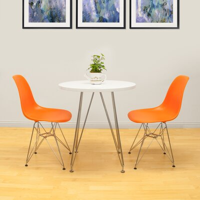 Confer 3 Piece Dining Set Table Finish: White, Chair Finish: Orange