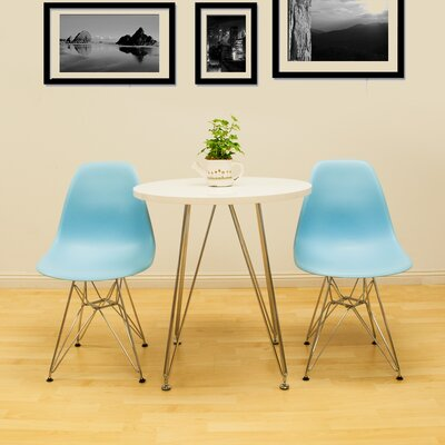 Paris Tower 3 Piece Dining Set Table Finish: White, Chair Finish: Blue