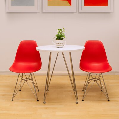 Confer 3 Piece Dining Set Table Finish: White, Chair Finish: Red