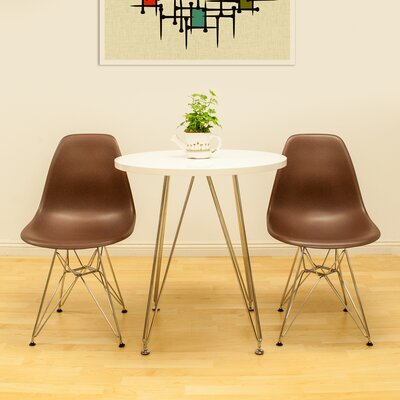 Confer 3 Piece Dining Set Table Finish: White, Chair Finish: Chocolate