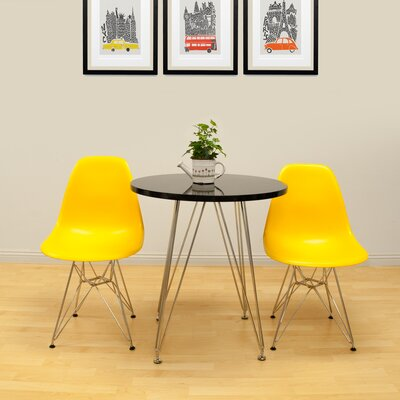 Paris Tower 3 Piece Dining Set Chair Finish: Yellow, Table Finish: Black