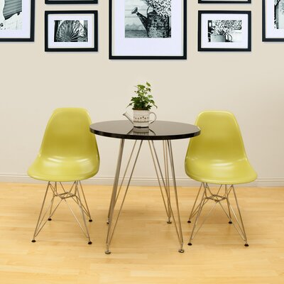 Confer 3 Piece Dining Set Table Finish: Black, Chair Finish: Green