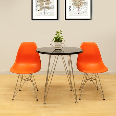 Confer 3 Piece Dining Set Table Finish: Black, Chair Finish: Orange