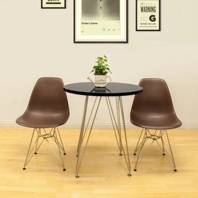 Paris Tower 3 Piece Dining Set Chair Finish: Chocolate, Table Finish: Black