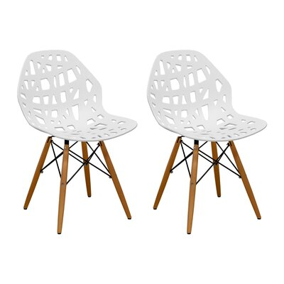 Josiah Stencil Cut Out Eiffel Dining Chair Color: White