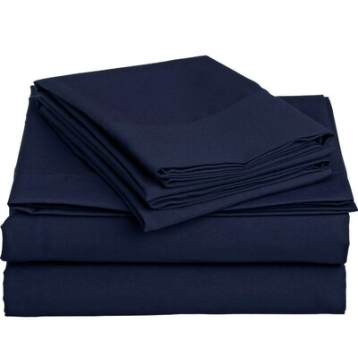 1500 Thread Count 4 Piece Twin Sheet Set Color: Navy Blue