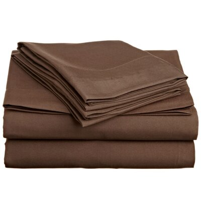 4 Piece Twin Sheet Set Color: Dark Brown