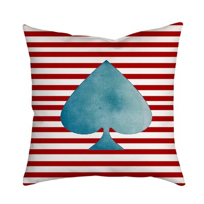 Ace of Spades Red Striped Throw Pillow Size: 18 H x 18 W x 2 D, Color: Red