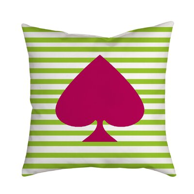 Ace of Spades Red Striped Throw Pillow Size: 18 H x 18 W x 2 D, Color: Green