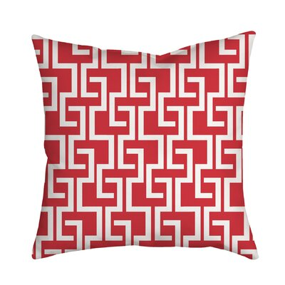 Greek Fret Bold Geometric Throw Pillow Size: 18 H x 18 W x 2 D, Color: Red