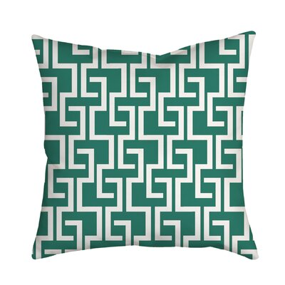 Greek Fret Bold Geometric Throw Pillow Color: Teal, Size: 18 H x 18 W x 2 D