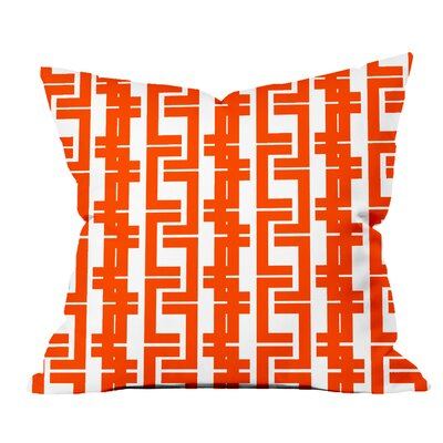 Interlocking Lines Geometric Throw Pillow Size: 18 H x 18 W x 2 D, Color: Orange