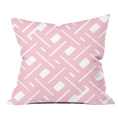 Garden Fencing Geometric Throw Pillow Size: 18 H x 18 W x 2 D, Color: Pink