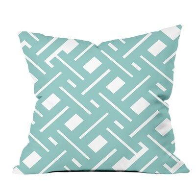 Garden Fencing Geometric Throw Pillow Size: 18 H x 18 W x 2 D, Color: Satin Blue