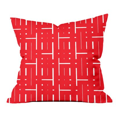Through the Lattice Geometric Throw Pillow Size: 18 H x 18 W x 2 D, Color: Red