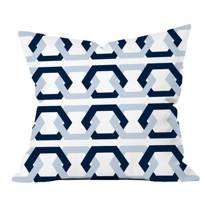 Hex - a - Gone Geometric Throw Pillow Color: Blue/Navy