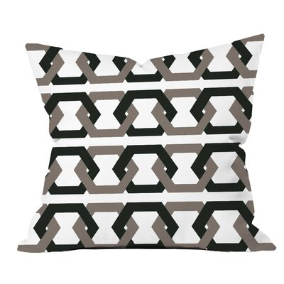 Hex - a - Gone Geometric Throw Pillow Color: Black/Grey